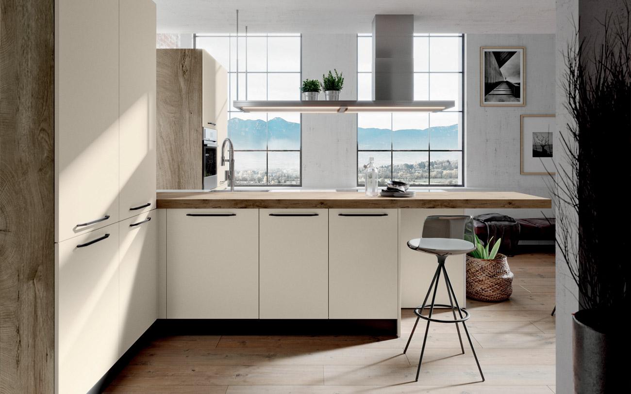 Cucina penisola vista laterale