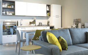 Articolo soggiorno piccolo - divano, tavolo e cucina ...
