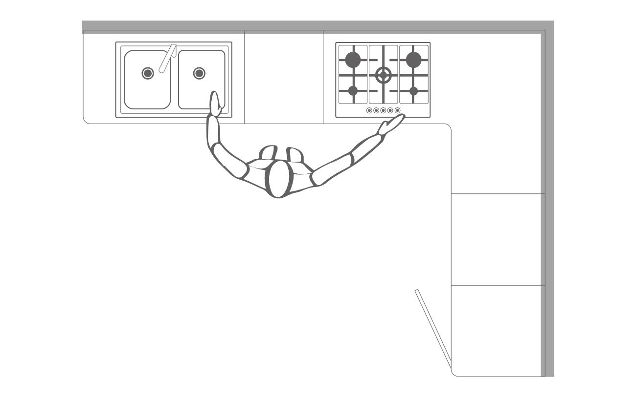 Cucina angolare - Schema grafico lavello e cottura su un lato