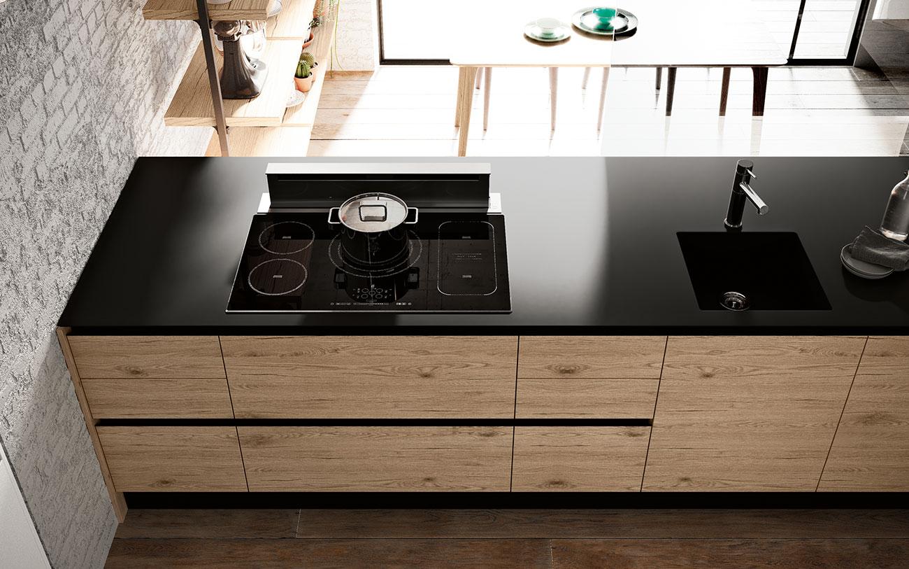 cucina con penisola - lavello e piano cottura