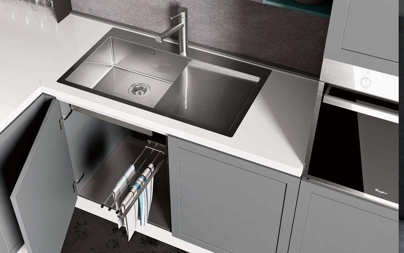 cucina con penisola - accessori sottolavello