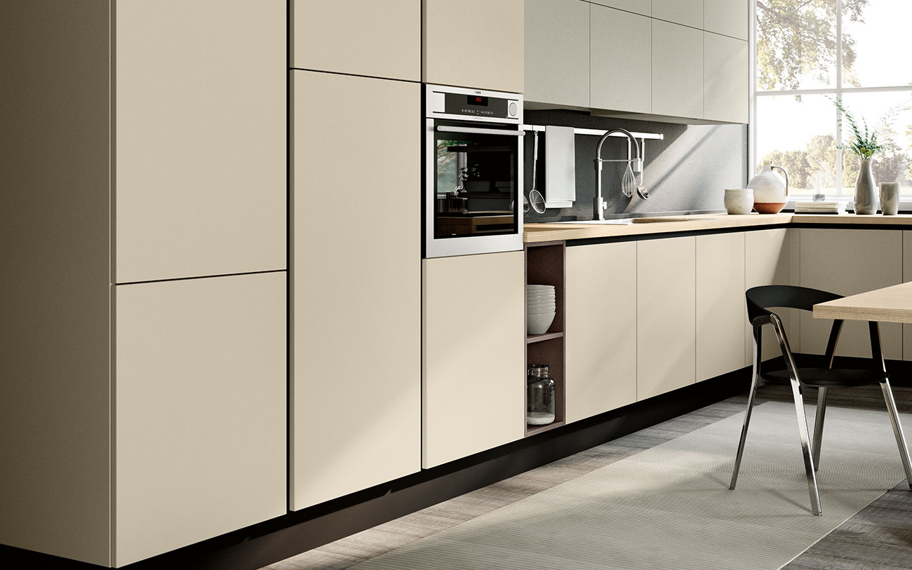 Arredare Cucina moderna con finitura colorato