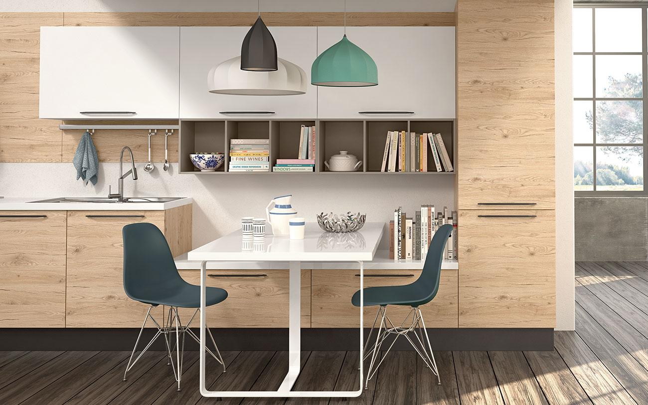 Arredare Cucina moderne lineari con tavolo penisola