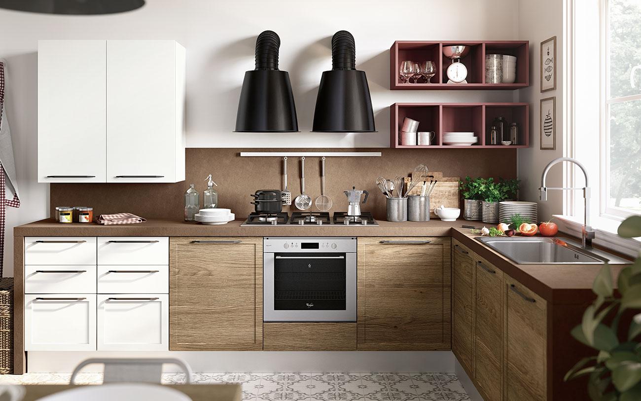 Arredare Cucina moderna con lavello e piano cottura due lati