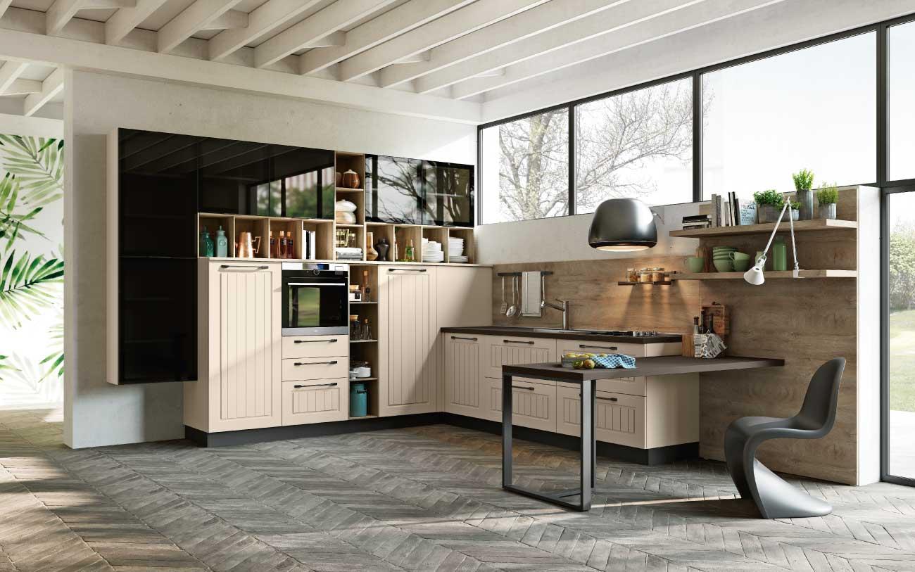 Cucina moderna angolare con tavolo penisola DM0630