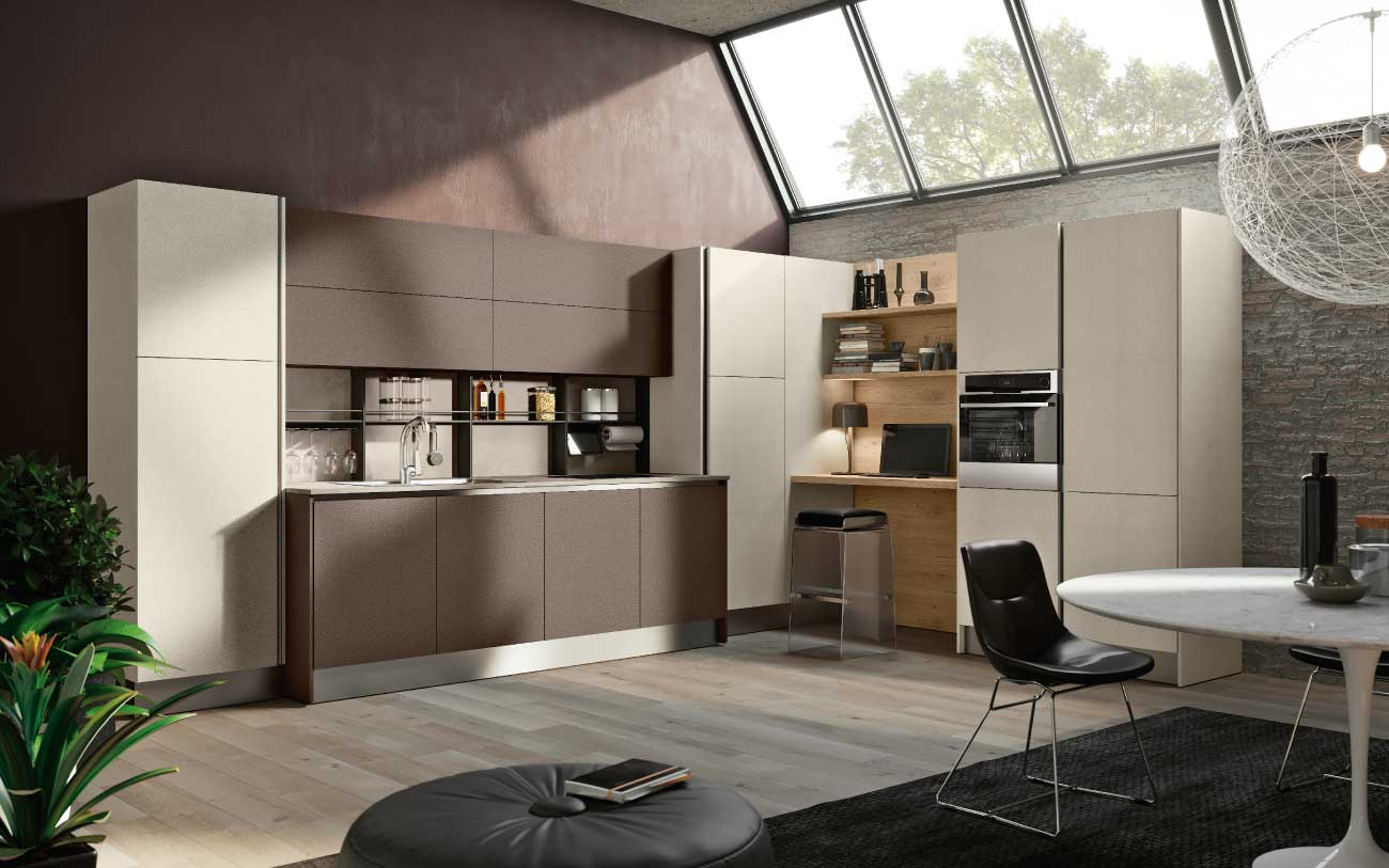 Cucina moderna angolare con home office DM0612