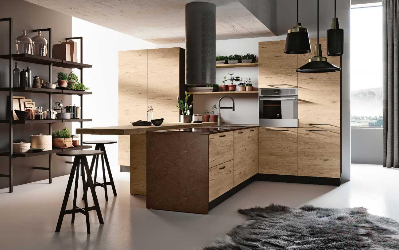 Cucina moderna su due lati con bancone penisola DM0610