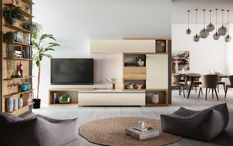 Soggiorno moderno qsm317 pensarecasa for Immagini pareti colorate soggiorno