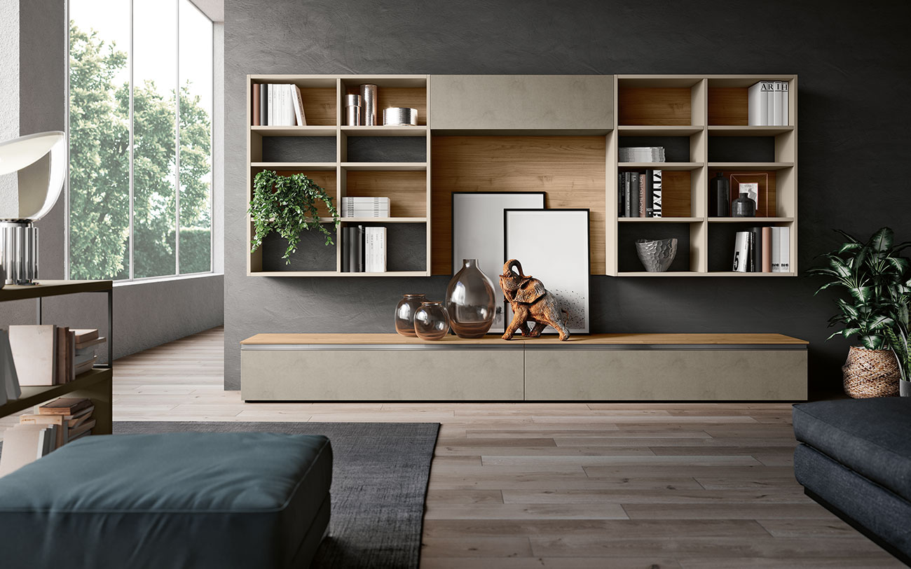 Soggiorni componibili pensarecasa il bello di arredare for Mobili x soggiorno moderni