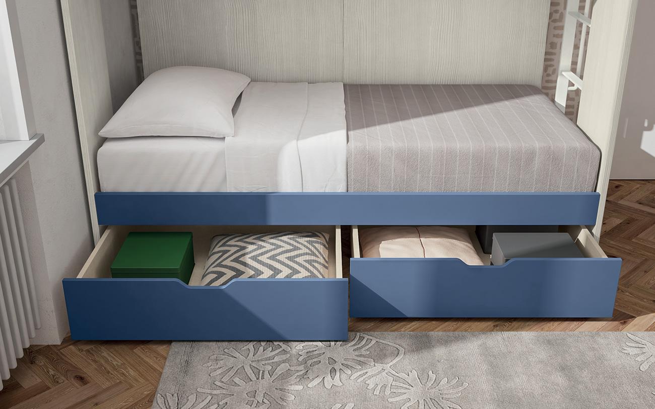Cameretta con letti a castello VCJ014 particolare cassettoni letto