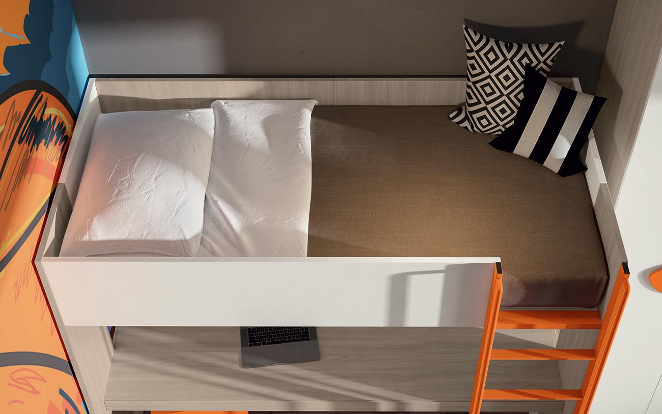 Cameretta a soppalco VCJ015 particolare letto a soppalco