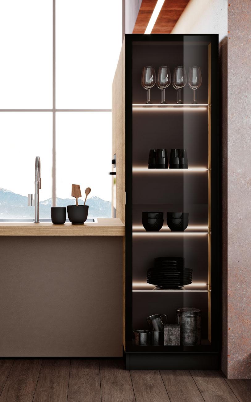 DM0658_immagine cucina con penisola particolare vetrina terminale