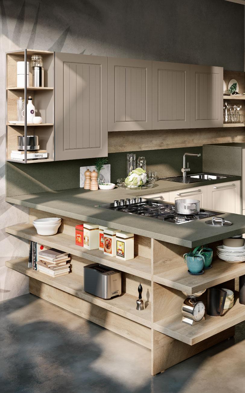 DM0626 immagine cucina con penisola particoalare libreria