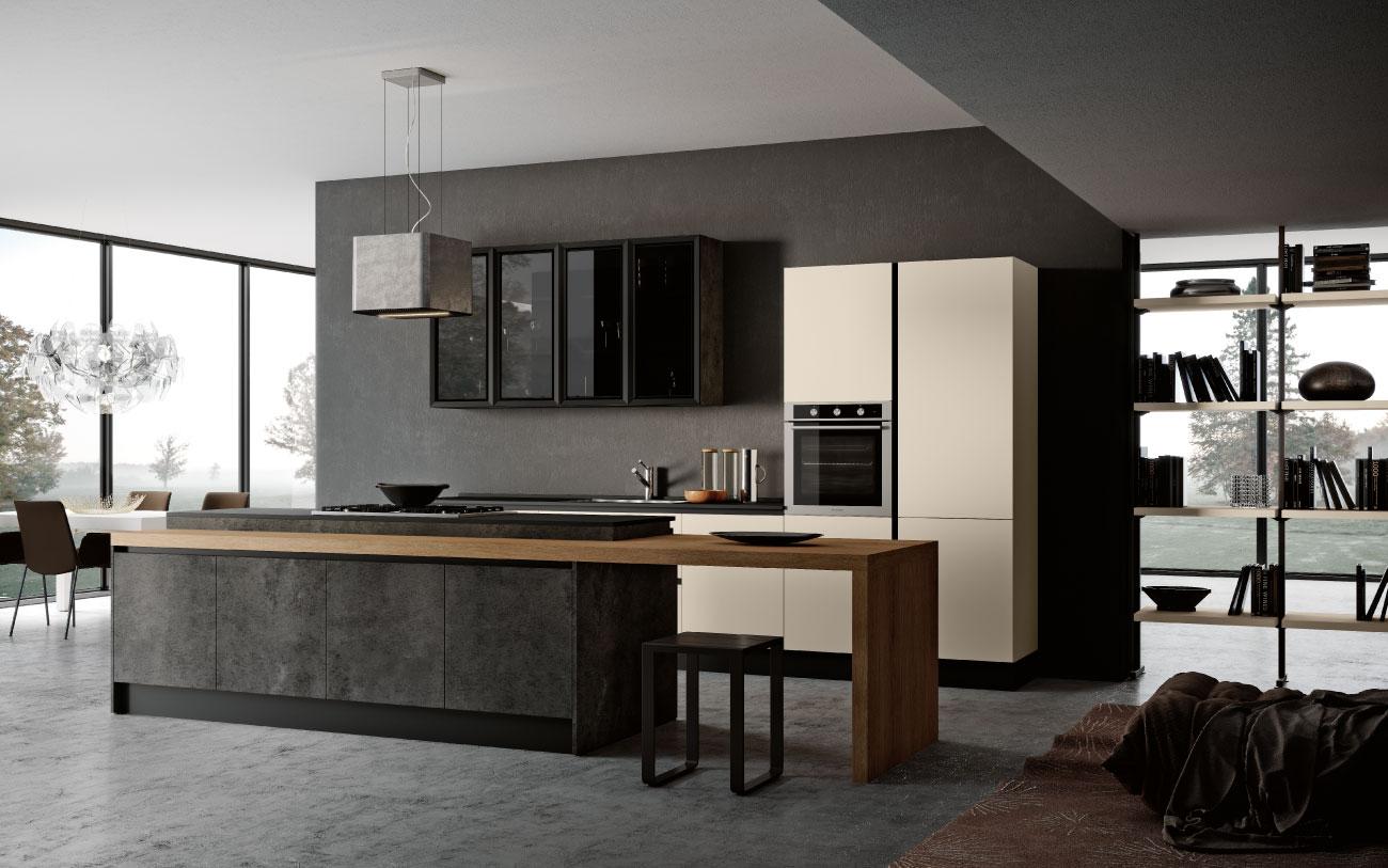 DM0675 cucina con isola cucina living