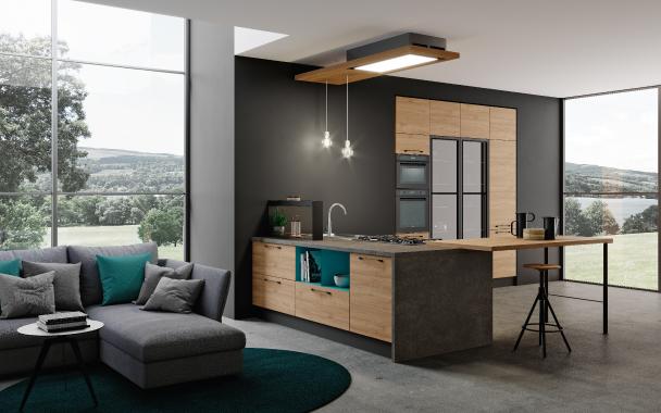 immagine cucina con penisola cucina living