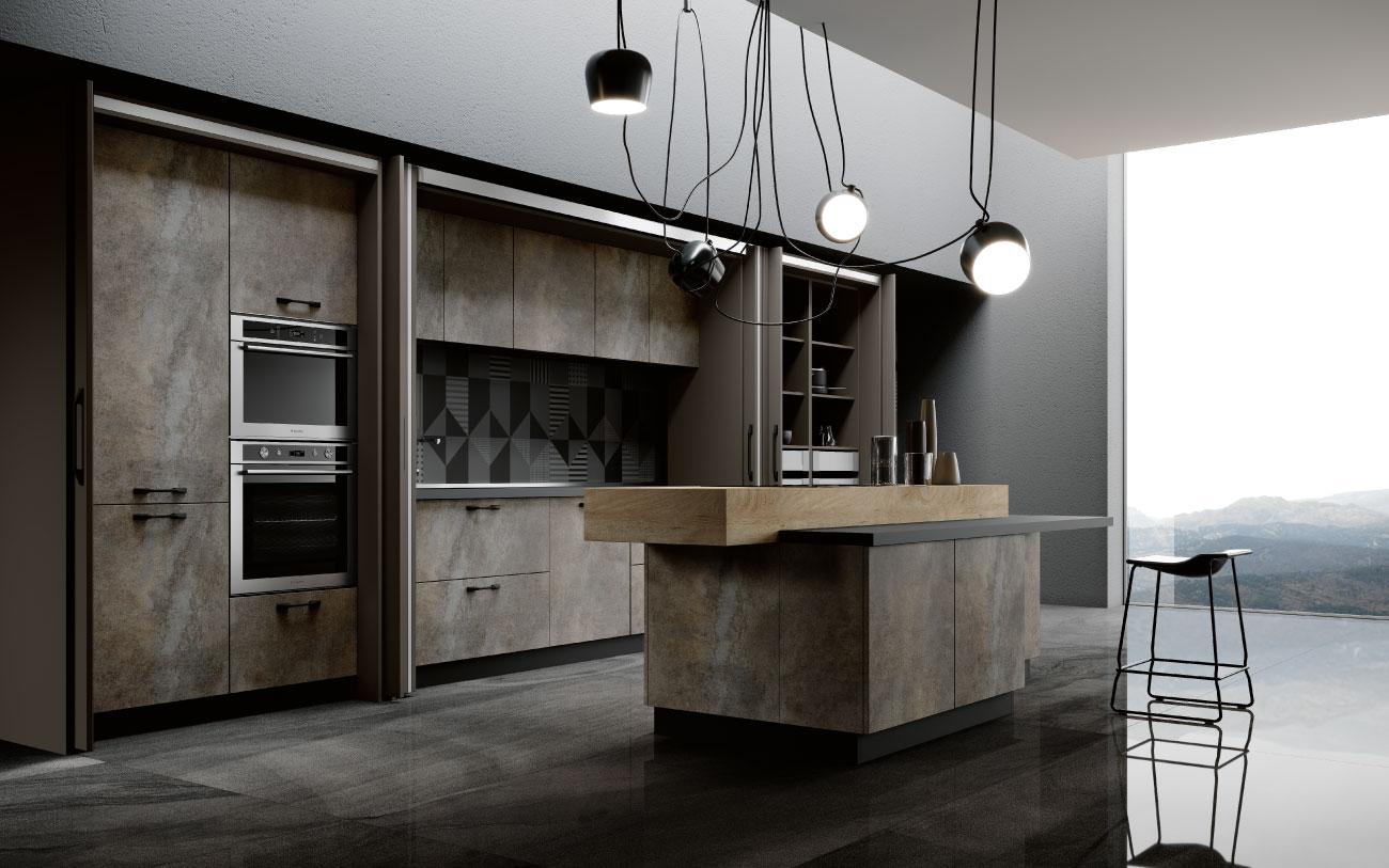 DM0672 cucina con isola particolare complanare aperto