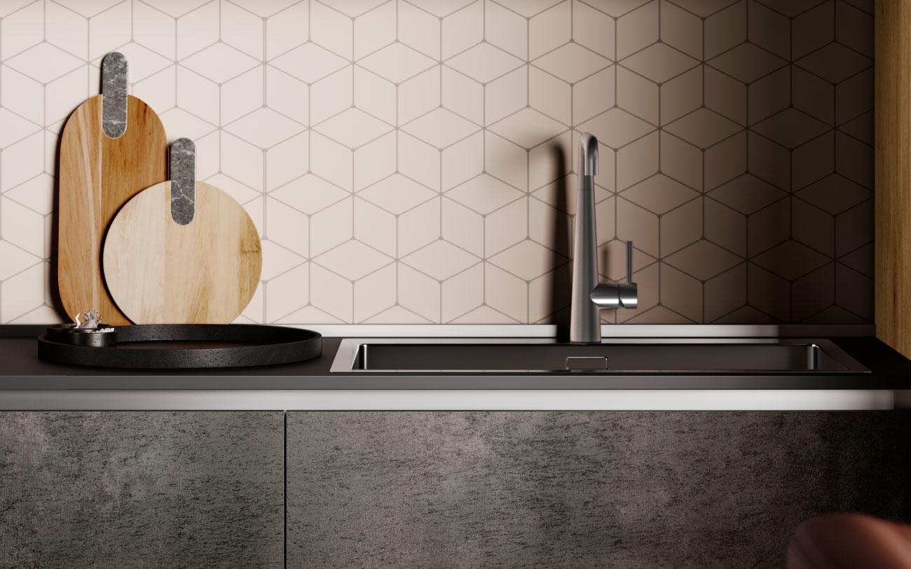 DM0663 immagine cucina lineare particolare lavello