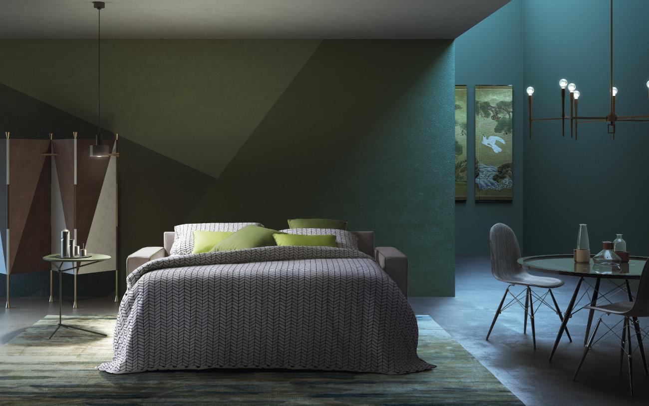 BARBADOS divano letto in tessuto 3 posti maxi notturno