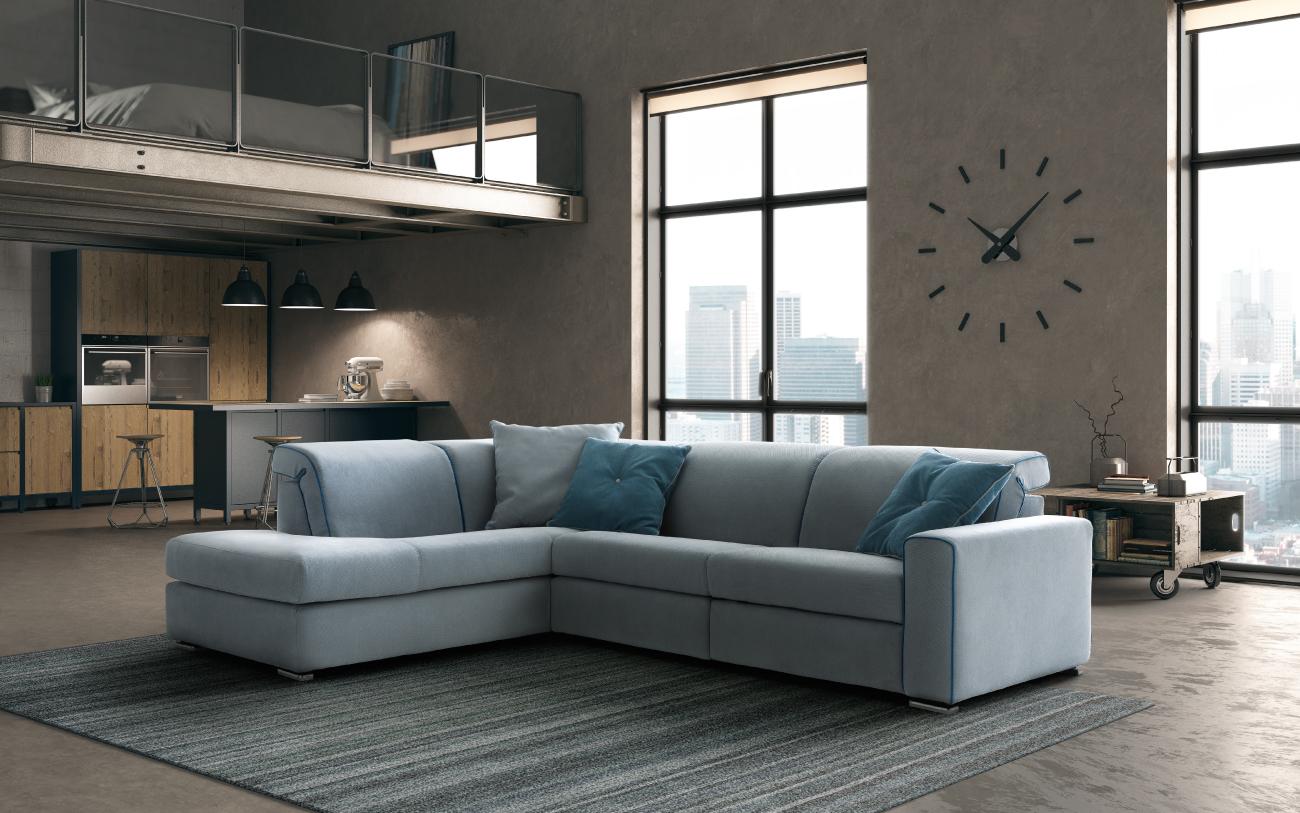 DRIVE divano in tessuto 3 posti laterale angolare