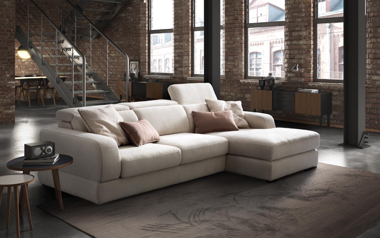 GRAFFITI divano in tessuto 3 posti chaise longue