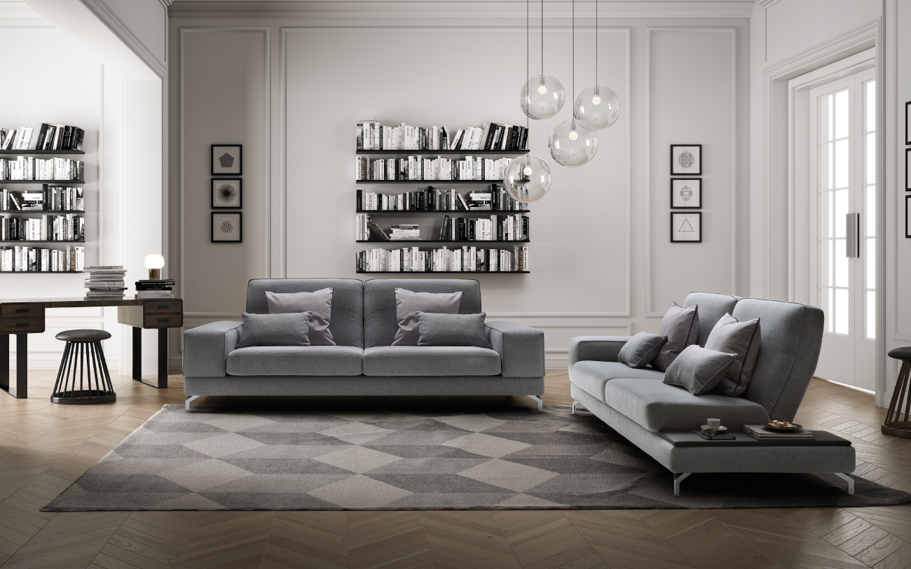 JOHNSON divani in tessuto 3 posti maxi