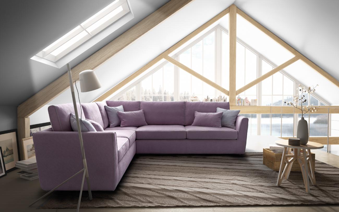 LOLA - divano angolare in tessuto