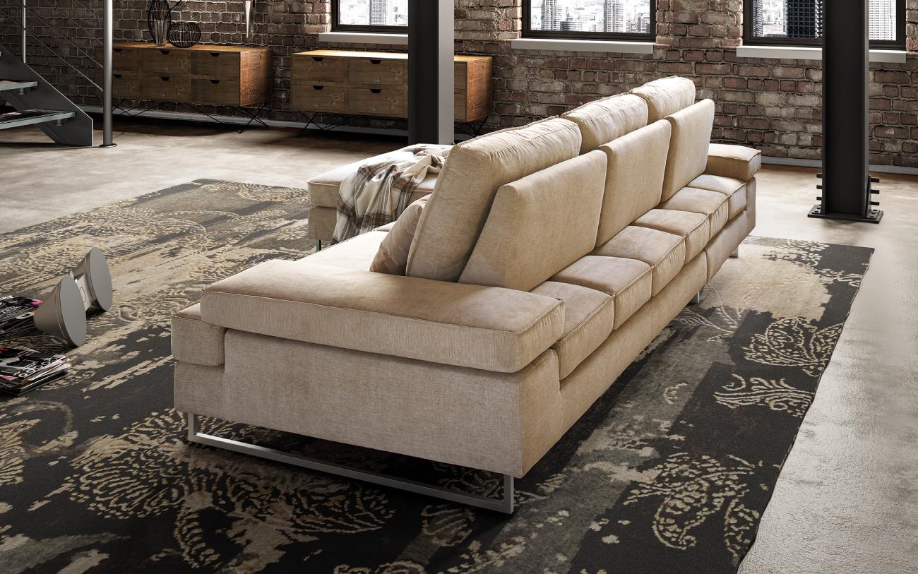 LUIS divano in tessuto 3 posti chaise longue particolare schienali