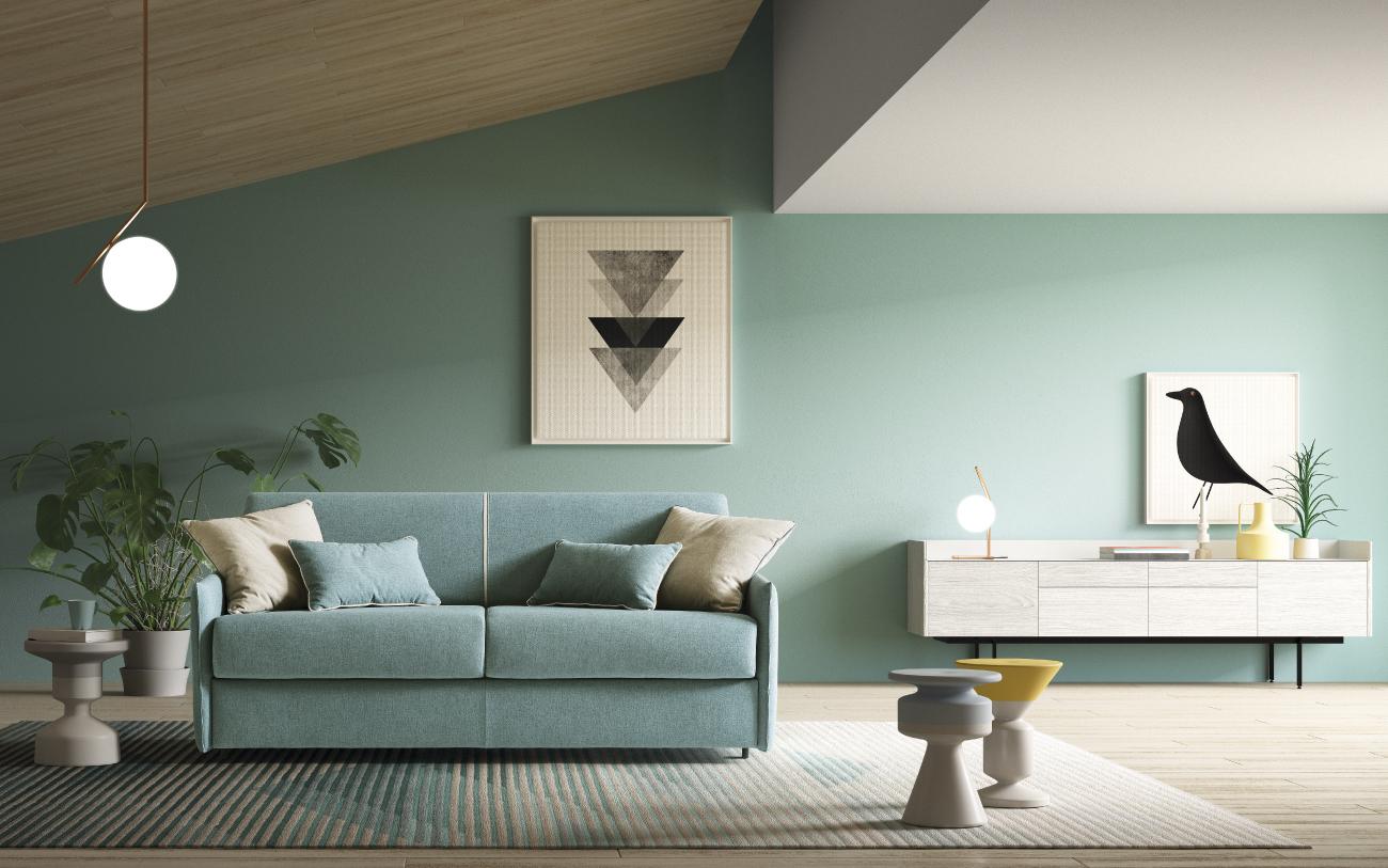 NAXOS divano letto in tessuto 3 posti