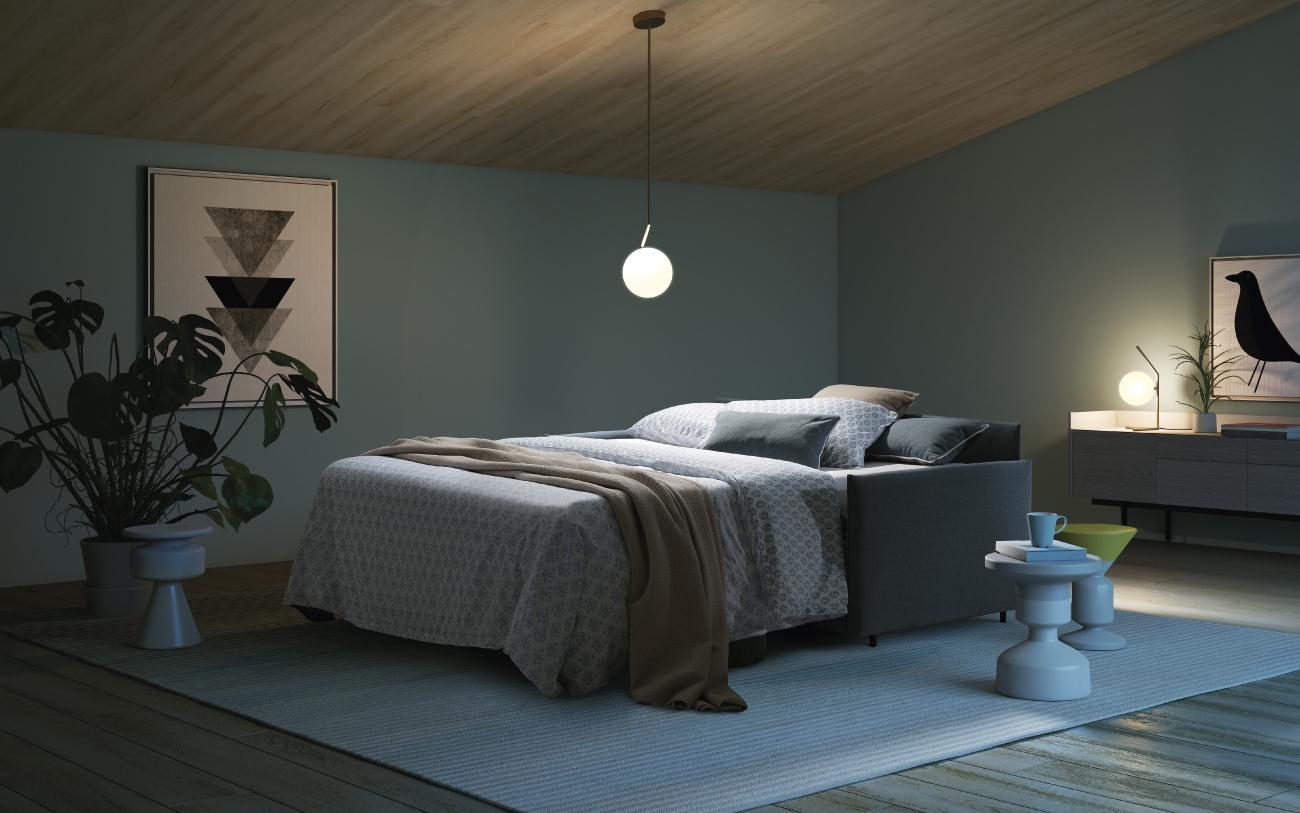 NAXOS divano letto in tessuto 3 posti notturna