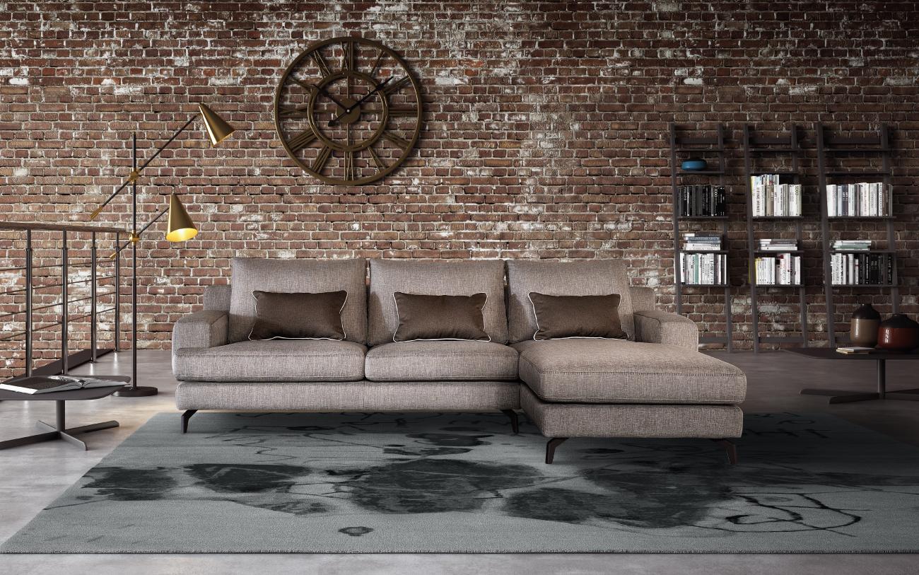 NIXON divano in tessuto 3 posti chaise longue