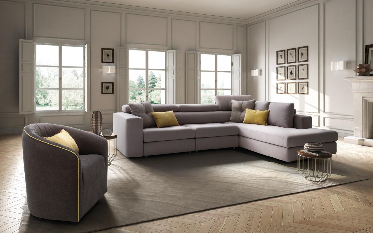 PALOMA divano in tessuto con chaise longue