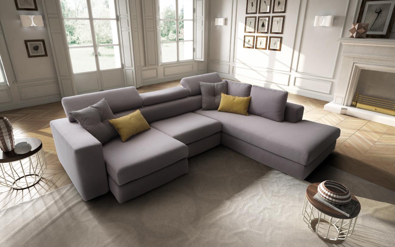 PALOMA divano in tessuto con chaise longue particolare3