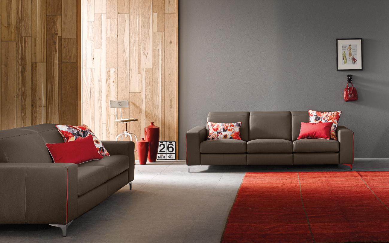 TREVOR divano in pelle 2 posti e 3 posti