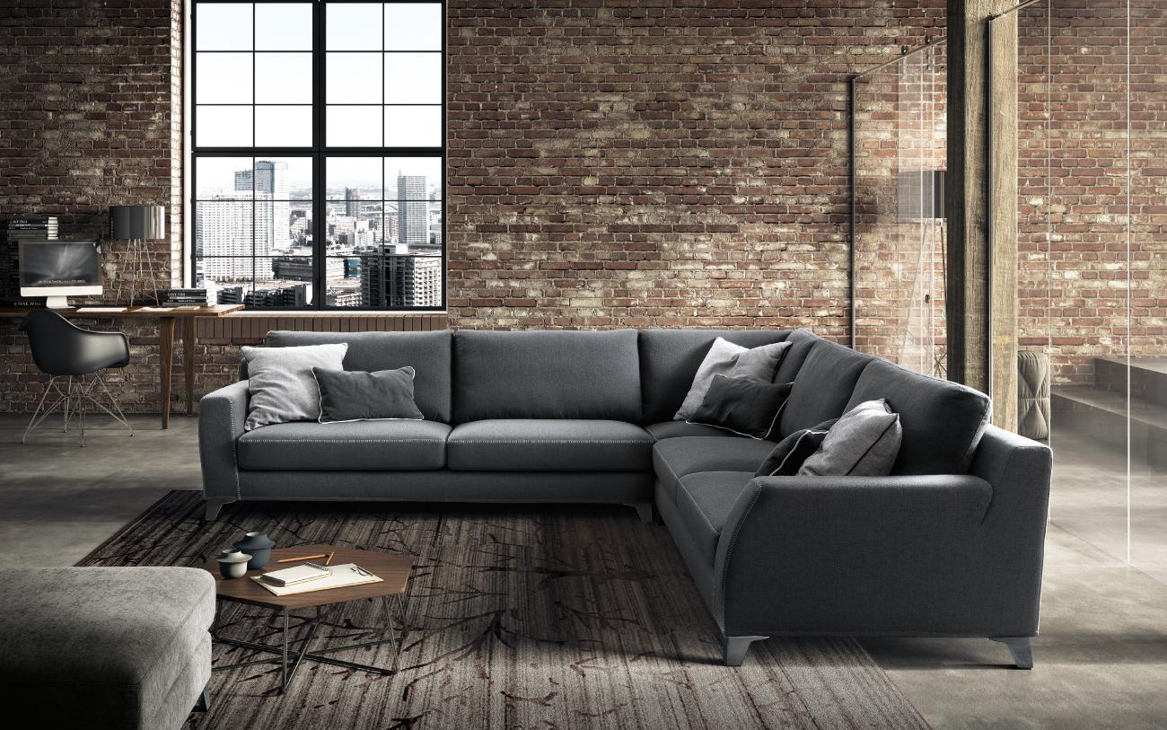 VINCENT divano in tessuto 3+3 posti_e pouf