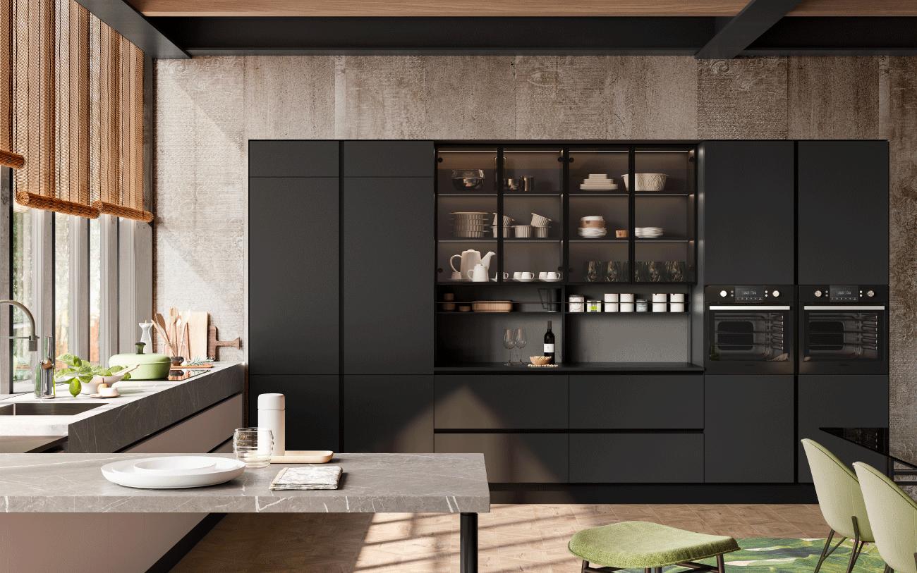 Cucina componibile - cucina due lati particolare colonne