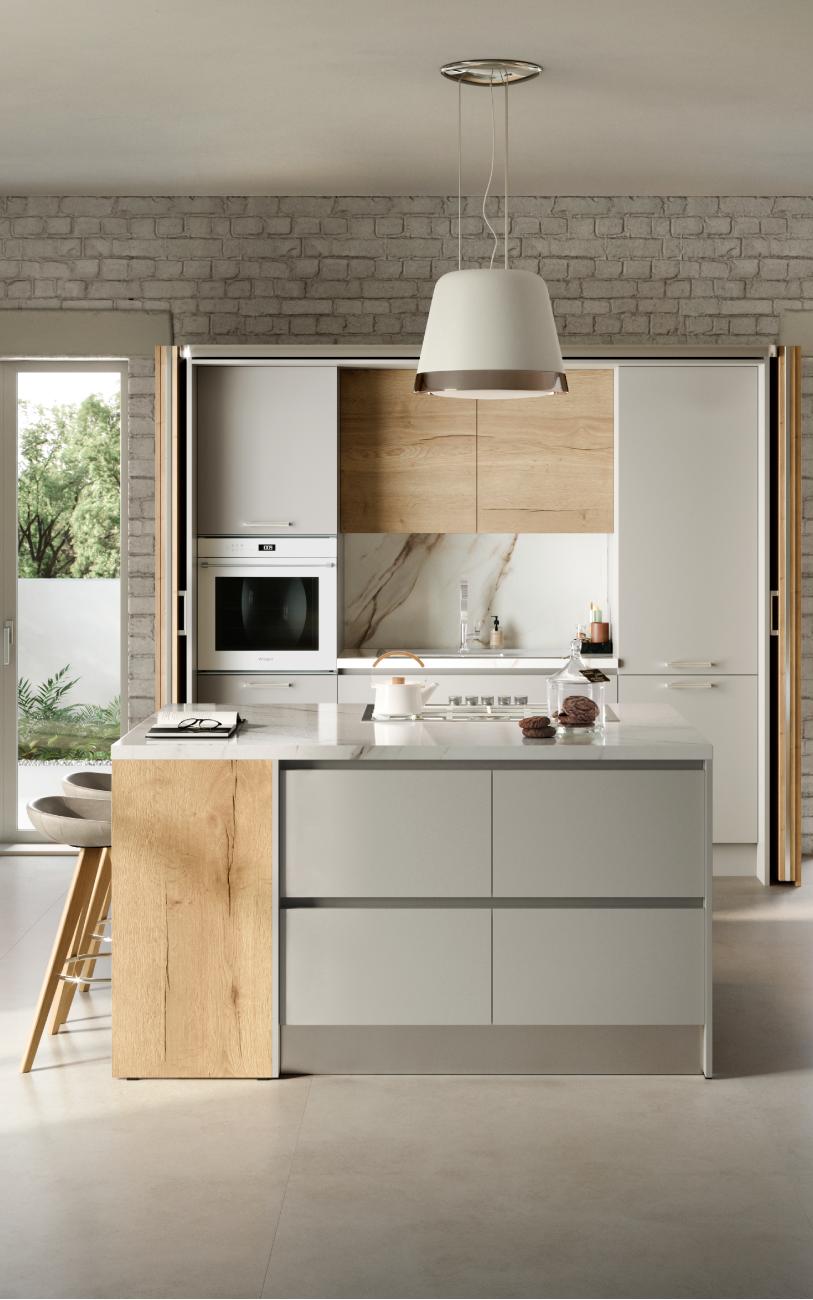 Cucina componibile - Cucina con isola particolare isola e colonne