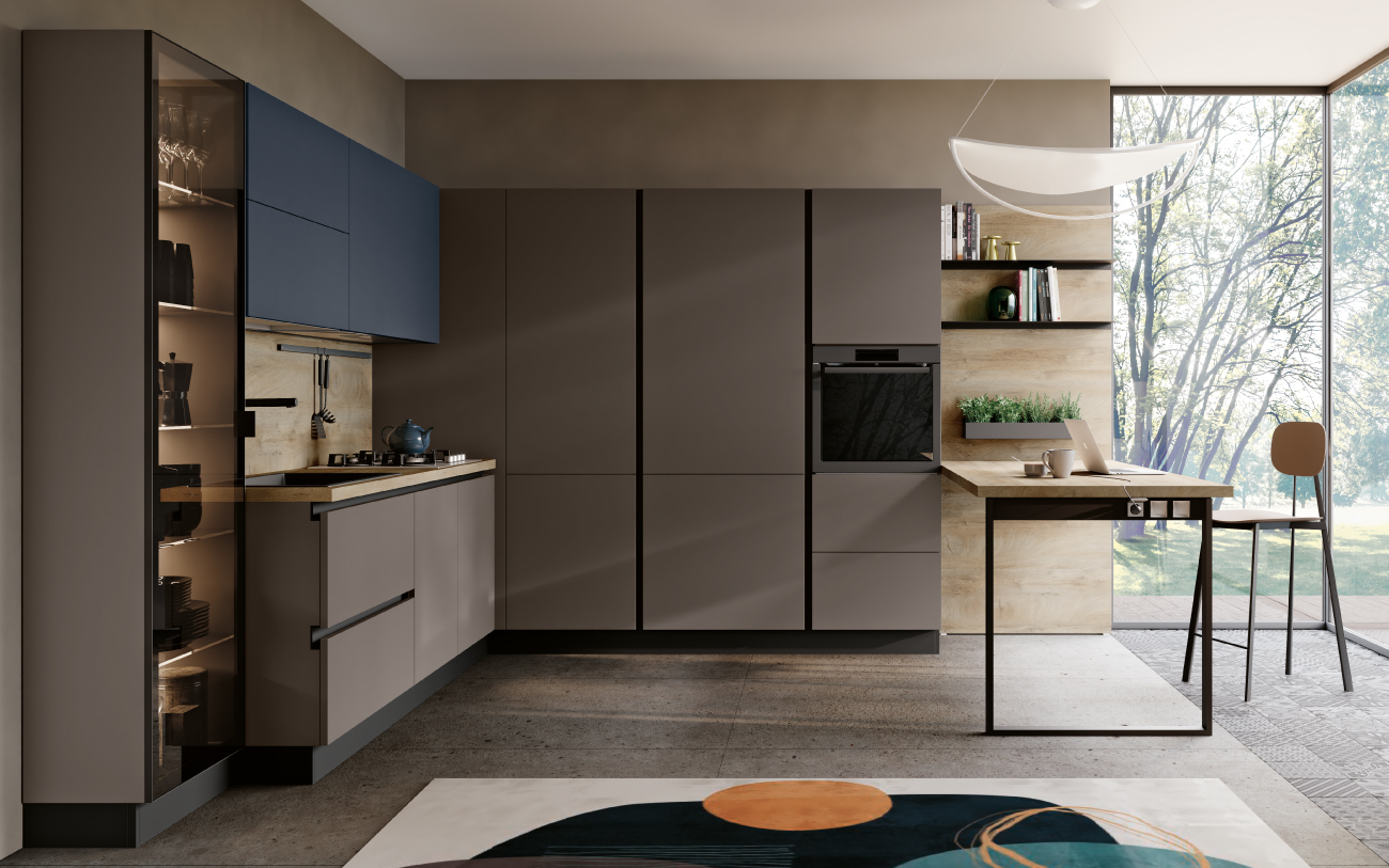 Ufficio in casa - cucina con penisola