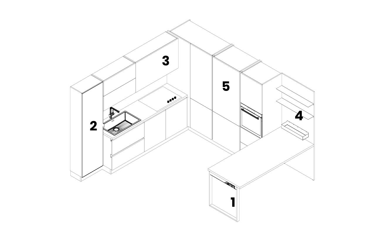 dm0683 Cucina angolare in PET modello 2D