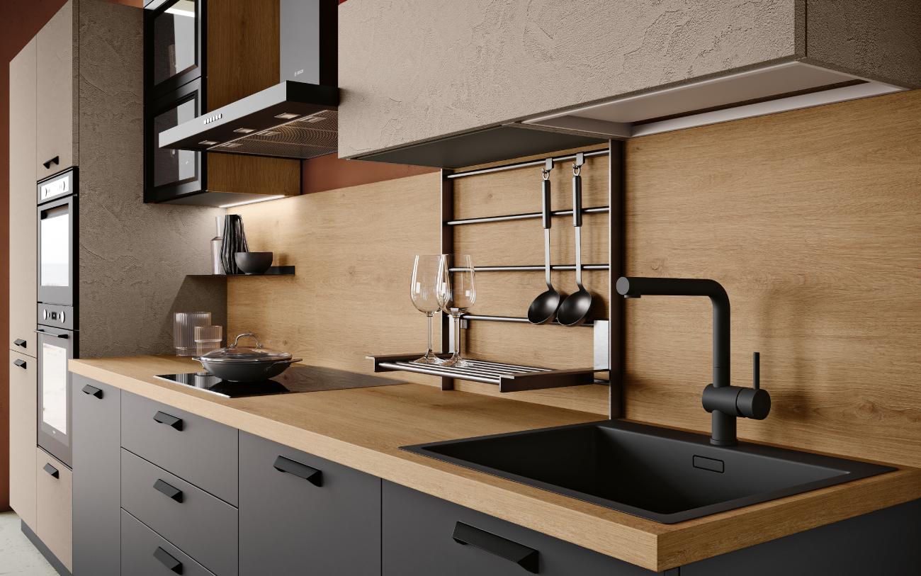 DM0677 cucina lineare particolare lavello