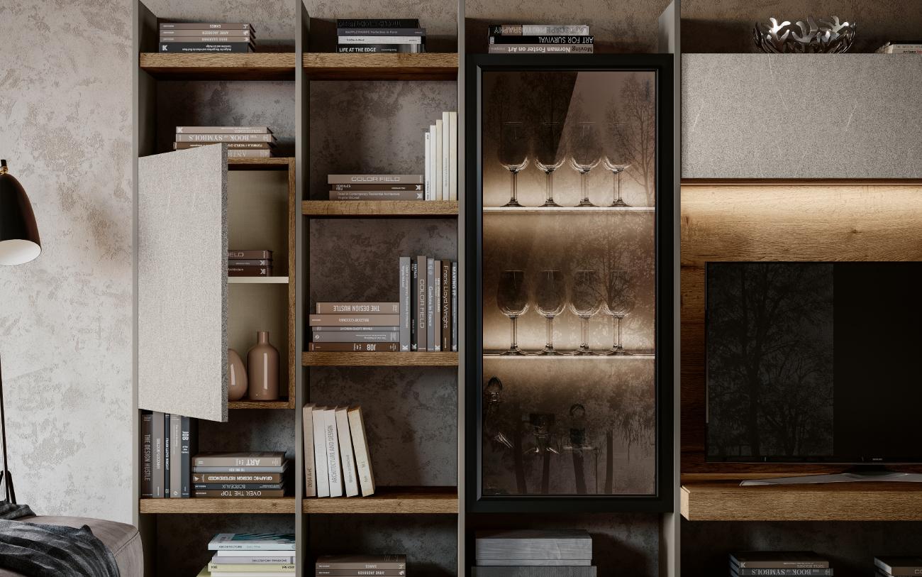 QSM611 Parete attrezzata soggiorno Pensarecasa - particolare vetrina retro illuminata
