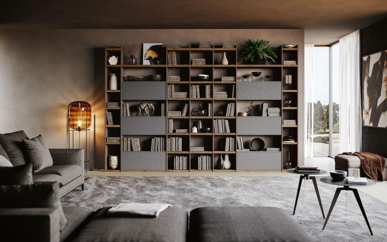 qsm616 Libreria soggiorno moderno Pensarecasa