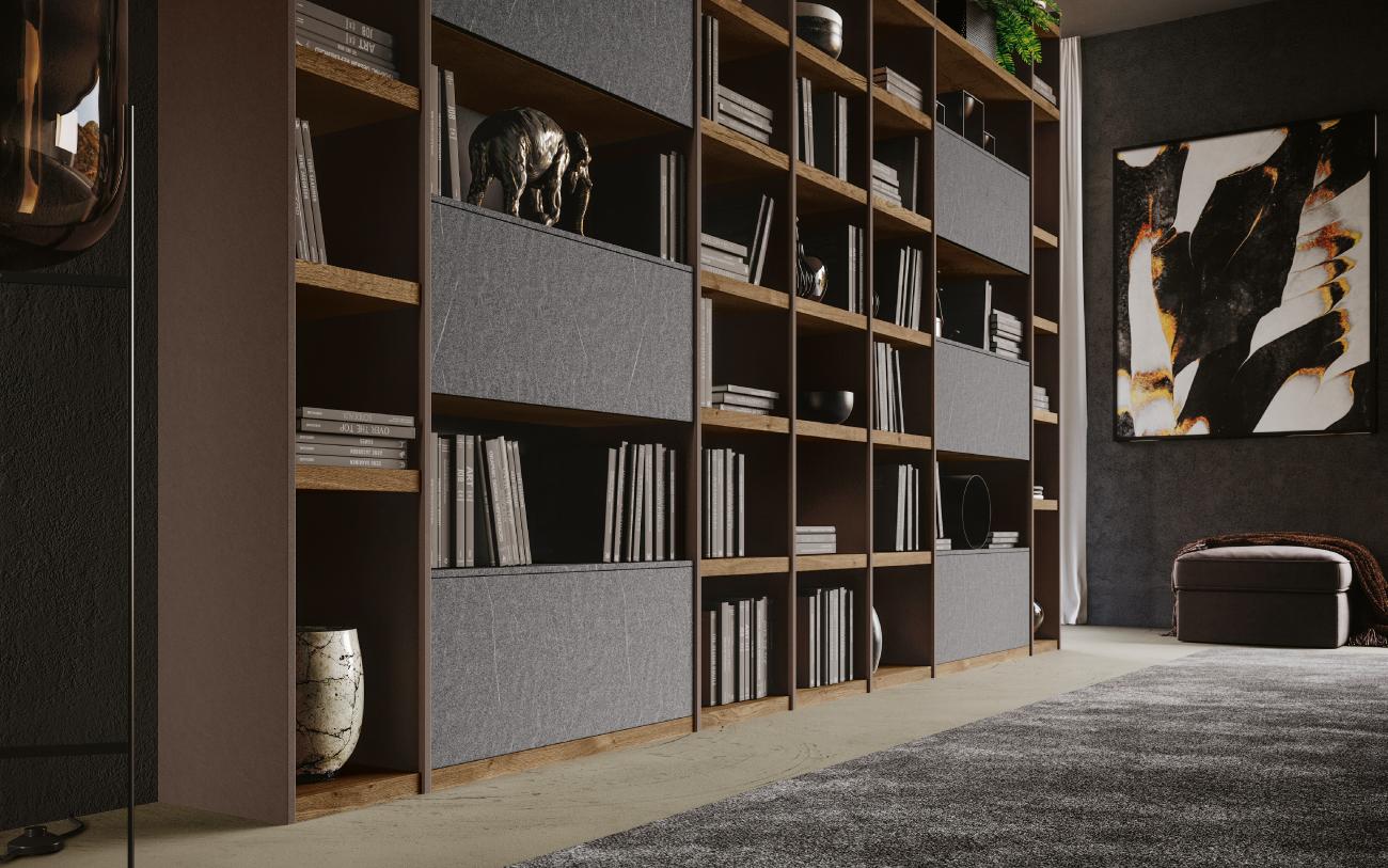 qsm616 Libreria soggiorno moderno Pensarecasa particolare laterale
