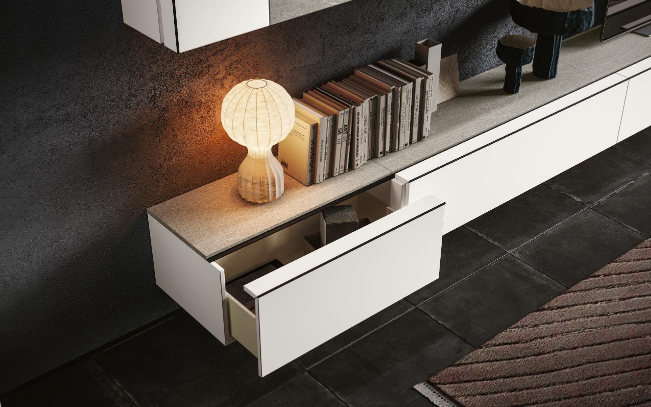 qsm621 Soggiorno moderno minimale Pensarecasa particolare base con cassetto