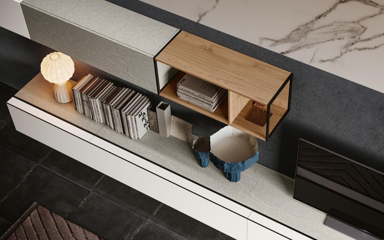 qsm621 Soggiorno moderno minimale Pensarecasa particolare librerie