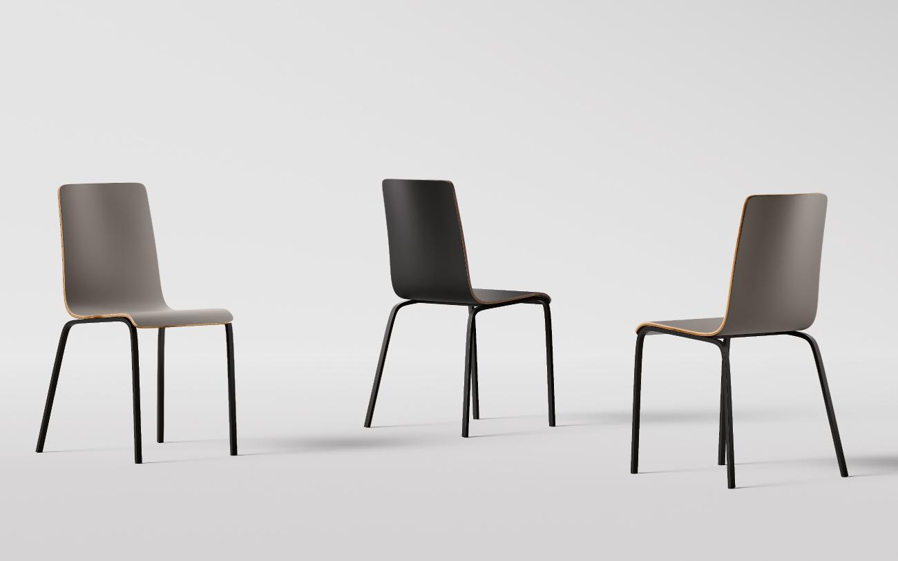 Chia sedia in multistrato e struttura in metallo tre versioni
