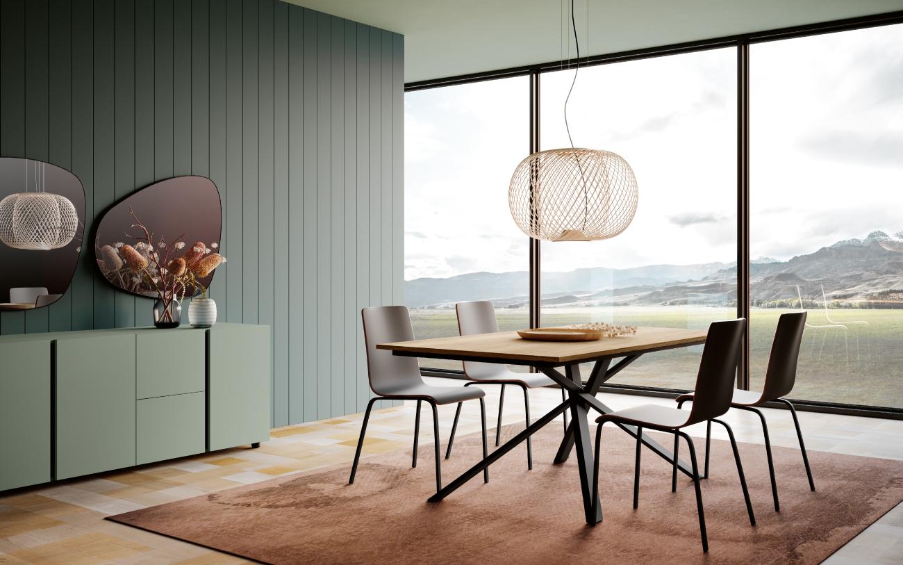 Tavolo allungabile Noa + Chia sedia in multistrato e struttura in metallo