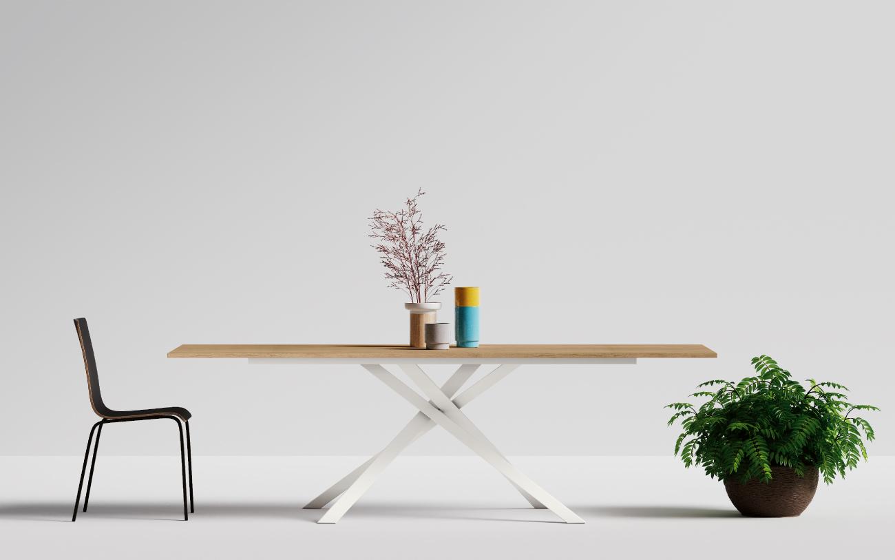 Noa tavolo in legno allungabile abbinato alla sedia Chia