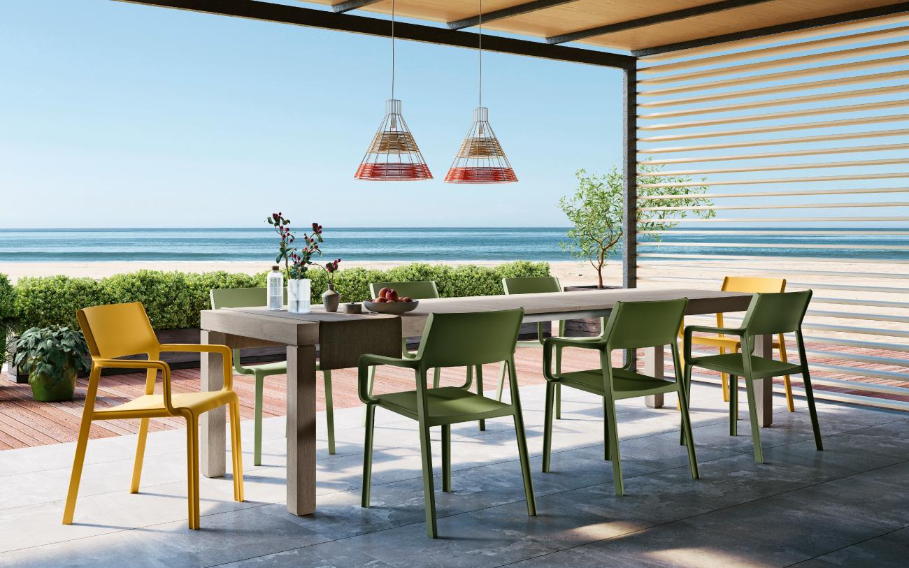 Roxy sedia in polipropilene e tavolo allungabile Timbro