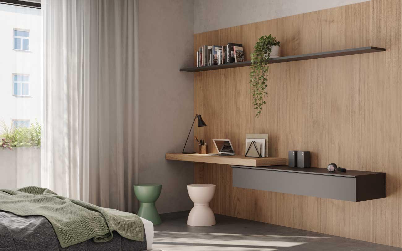 Camera da letto moderna con angolo studio - Pensarecasa